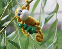 needle felted monkey christmas tree decor chinese zodiac sign