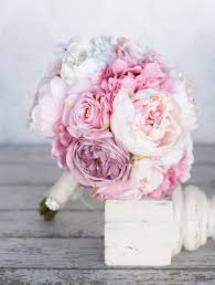 Shabby Chic Wedding Bouquets by Silk Bride Bouquet Peony Pink Cream Purple Rhinestones Pearls