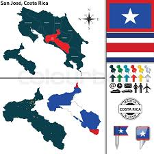 san jose costa rica on map vector map of province san jose with flag and location on costa