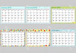 Kalendář 2018 Svátky Barevný Kalendář 2018 Pro Usa Svátky Sada 6 ělených Měsíců Od