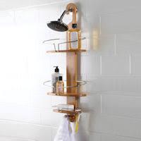 store 3 tier bathroom storage caddy wood effect