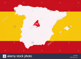 Madrid Spain Map 3d Rendering Contour Of Spanish Map With Madrid City Spanish Flag