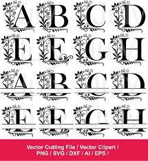 monogram letters split monogram alphabet svg dxf png ai eps split alphabet