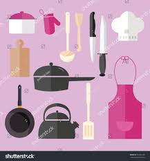 Pink Kitchen Knives Cooking Icon Set Object Pink Kitchen Stock Vector 331856138