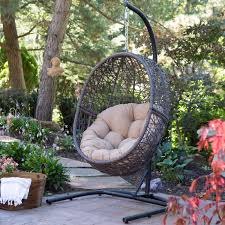 hanging patio chair outdoor furniture egg swing black cushion