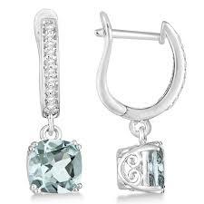 aquamarine drop earrings cut aquamarine diamond drop earrings sterling silver 2 63ct