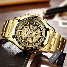 luxury gold bracelet watches images Gorben m106 self winding luxury skeleton watches with gold jpg