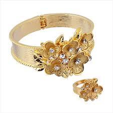 golden flower rings images Buy 14k gold plated cz bangle and ring set flower design bl jpg