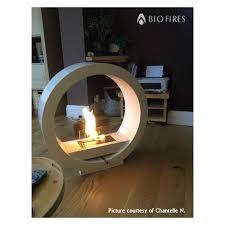 white globe flame bio ethanol fireplace