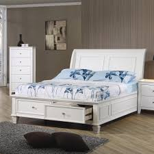 Sleigh Bedroom Furniture Coaster Sleigh Bed With Footboard Storage Value