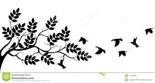 tree silhouette with bird flying stock illustration illustration