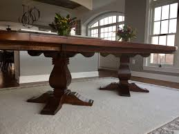 double weston pedestal in signature dark rustic trades furniture