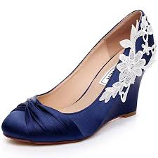 wedding wedges shoes luxveer blue wedding shoes wedges with white