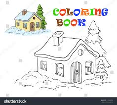 vector drawing house coloring kids stock vector 517480006