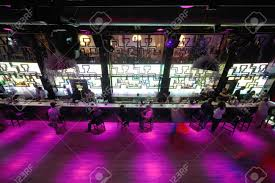 moscow russia august 28 long empty dance floor near bar with