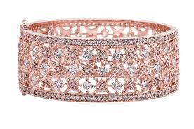 clasp cuff bracelet images 18 kt rose gold plated cubic zirconia florence cuff bracelet jpg