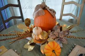 Centerpiece With Feathers by Tablescapes Pumpkins Feathers And Leaves The Painted Apron