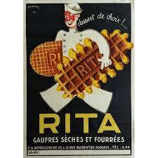 affiche cuisine vintage original vintage poster gaufres sèches et fourrées léon dupin