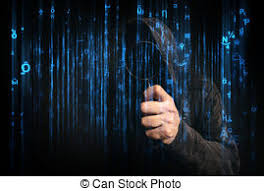 stock photography of computer hacker with hoodie in cyberspace
