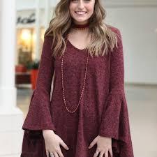 maroon sweater dress bell sleeve sweater dress shop2chez