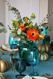 Fall Table Settings by Non Traditional Fall Table Setting Teal Orange And Brown