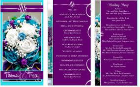purple wedding programs aqua blue and royal purple wedding program