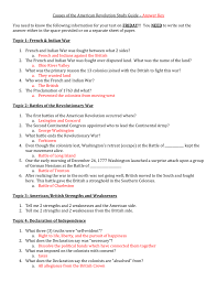 Declaration Of Independence Worksheet Answers Causes Of The Revolution Study Guide Answer Key You