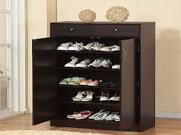 Shoe Closet With Doors 5 Shelf Wooden Shoe Cabinet With Doors Comqt