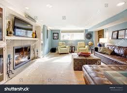light blue living room leather furniture stock photo 174203672