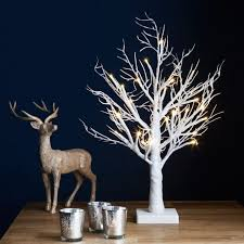 2ft snowy effect table warm white twig tree pre lit 24 led