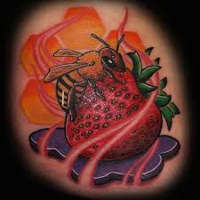 bee on strawberry tattoo design tattooshunt com