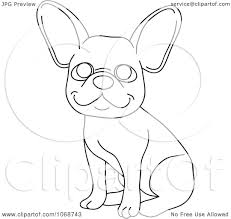 clipart outlined french bulldog sitting royalty free vector