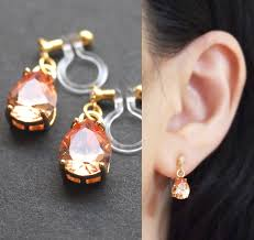 clip on earings dangle cubic zirconia invisible clip on earrings orange