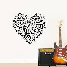 compare prices on music room designs online shopping buy low beautiful heart music notes vinyl wall decals creative design music notes wall stickers for home living