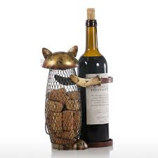 tooarts cat wine holder cork container home decor iron craft sales