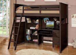 Bed And Computer Desk Combo Twin Loft Bed With Desk And Storage Brown Wooden Laminated White