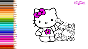 happy easter with hello kitty coloring pages for children youtube
