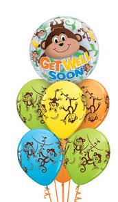 get well soon and balloons get well soon monkey balloon bouquet balloon bouquets