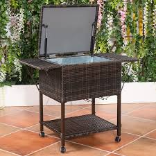Patio Ice Cooler by Costway Portable Rattan Cooler Cart Trolley Outdoor Patio Pool