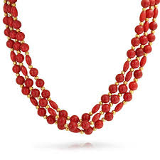 coral necklace images Coral colored gold plated three strand necklace jpg