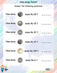 Clock Worksheets Grade 1 How Many Coins Will Be Needed To Make The Given Rupees