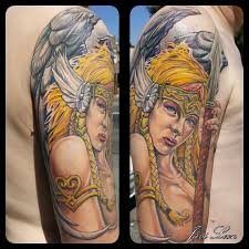 female tattoo arm sleeves javi valkyrie warrior norse norsemythology warriorprincess wings