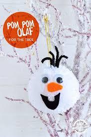 olaf frozen pom poms diy tree decoration olaf pom pom