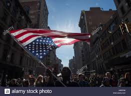 American Flag Upside Down New York Ny Usa 12th Nov 2016 James Of Brooklyn Carries The