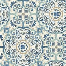 peel and stick wallpaper nuwallpaper blue florentine tile peel and stick wallpaper sle