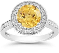 citrine engagement rings citrine and diamond halo ring in 14k white gold