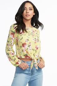 floral blouse floral front knot textured blouse mandee
