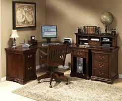 Bush Cabot L Shaped Desk Furniture Burnish Cherry Finish L Shaped Desk With Hutch And