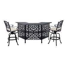 Patio High Dining Set - outsunny 3 piece cast aluminum outdoor patio bar height dining set