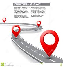 Map Direction Vector Pathway Road Map With Gps Route Pin Icon Stock Illustration